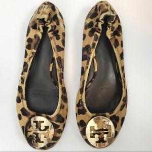 Tory Burch Reva Cheetah Print Calf Hair Flats 7.5